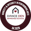 Dance Den Approved School logo.